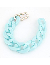 Korean Light Blue Candy Color Simple Chain Design CCB Korean Fashion Bracelet