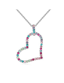 Steelers Multicolor heart shape pendant design Austrian Crystal Crystal Necklaces
