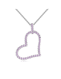 Local Violet Heart Shape Pendant Design Austrian Crystal Crystal Necklaces