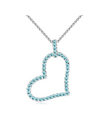 Apparel Navy Blue Heart Shape Pendant Design Austrian Crystal Crystal Necklaces