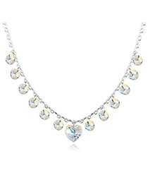High White Elegant Heart Shape Decorated Austrian Crystal Crystal Necklaces