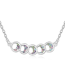 Players Multicolor Five Hollow Out Circle Decorated Design Austrian Crystal Crystal Necklaces