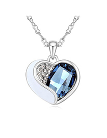 Cranes Ink Blue Heart Shape With Diamond Design Austrian Crystal Crystal Necklaces