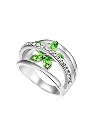 Correspond Olive Flower Decorated Hollow Out Design Austrian Crystal Crystal Rings