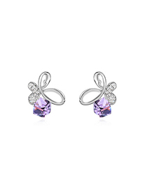 Famale Violet Dancing Butterfly Design Austrian Crystal Crystal Earrings