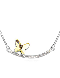 Standard Light Yellow Butterfly Decorated Simple Design Austrian Crystal Crystal Necklaces