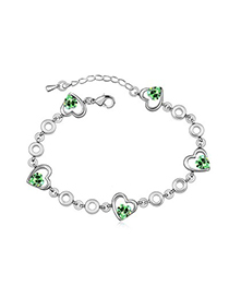 Real Olive Heart Shape Decorated Austrian Crystal Crystal Bracelets
