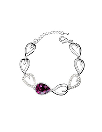 Maxi Purple Tear Shape Link Design Austrian Crystal Crystal Bracelets