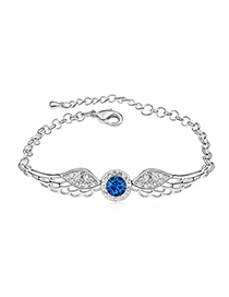 Victorian Dark Blue Angel Wing Shape Design Austrian Crystal Crystal Bracelets