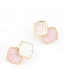 Diy Pink Square Shape Simple Design Alloy Stud Earrings
