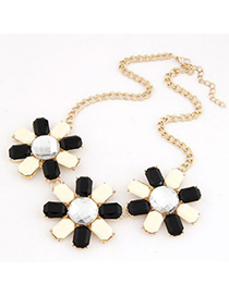 Preppy Black And White Three Rich Gemstone Flower Decorated Alloy Bib Necklaces