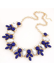 Chunky Blue Metal Inlaid Abstract Bee Design Alloy Korean Necklaces