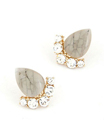 Highwaist Beige Water Drop Gemstone Stand Simple Design