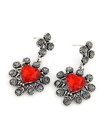 Rave Red Heart Shape Gemstone Decorated Alloy Stud Earrings