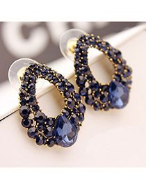 Faddish Blue Hollow Water Drop Shape Design Alloy Stud Earrings