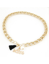 Micro Black Letter Love&Tassel Decorated Chain Design Alloy Korean Necklaces