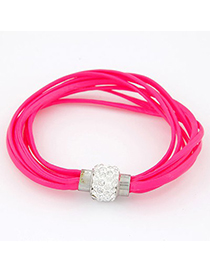 Indie Plum Red Bright Ball Decorated Multilayers Exquisite Design Alloy Korean Fashion Bracelet