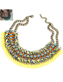 Active Yellow Multilayer Weave Water Drop Pendant Design