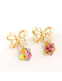 Creative Multicolor Sweet Bowknot Decorated Cube Shape Design Alloy Stud Earrings