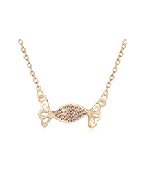 Cherokee Light Peach&Champagne Gold Auspicious fish pendant Austrian Crystal Crystal Necklaces