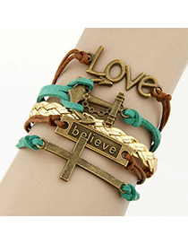 Piercing Green Vintage Cross&Word Love Decorated Alloy Korean Fashion Bracelet