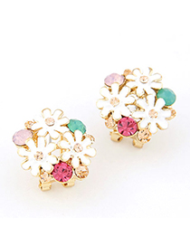 Electric multicolor three chrysanthemum flower decorated alloy Stud Earrings