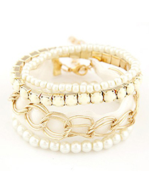 Friendly light yellow metal chains decorated multilayer design alloy Korean Fashion Bracelet