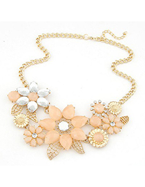 Nautical dark pink gemstone decorated bauhinia flower design alloy Bib Necklaces