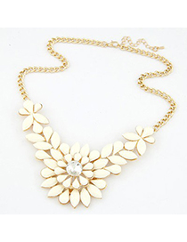 Stretch beige gemstone decorated flower design short style