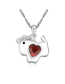 2011 red diamond decorated horse pendant design alloy Crystal Necklaces