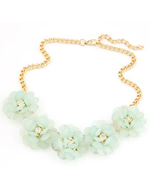 Hippie light green flower decorated simple design alloy Bib Necklaces