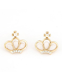 Traditiona gold color CZ diamond decorated crown shape design alloy Stud Earrings