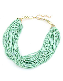 Flip light green beads weave design alloy Beaded Necklaces