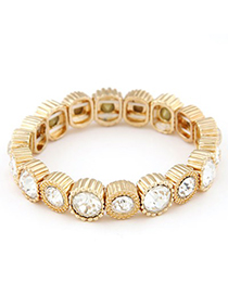 Fitness white CZ diamond decorated round shape design alloy Fashion Bracelets