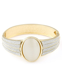 Seamless beige opal decorated simple design alloy Fashion Bangles