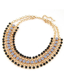 French black gemstone decorated multilayer design alloy Bib Necklaces