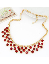 Display claret-red CZ diamond decorated Multi-level design alloy Fashion Necklaces