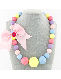 Graduated multicolor bowknot decorated candy color design rosin Korean Necklaces