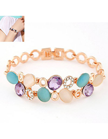 Folding multicolor gemstone decorated Double layer design alloy Korean Fashion Bracelet