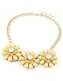 Male light yellow gemstone decorated flower design alloy Fashion Necklaces
