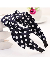 Physical navy blue bowknot decorated polka dot design fabric Hair band hair hoop