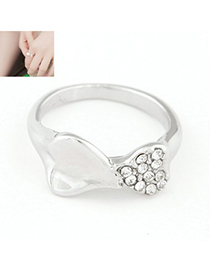 Highwaist silver color diamond decorated Heart to Heart Design alloy Korean Rings