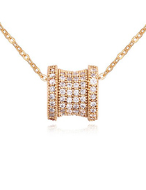 Venetian white & champagne gold diamond decorated transport bead design zircon Crystal Necklaces