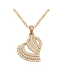 Sparrow white & champagne gold diamond decorated heart shape design zircon Crystal Necklaces