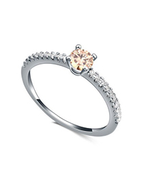 Novelty champagne diamond decorated simple design zircon Crystal Rings