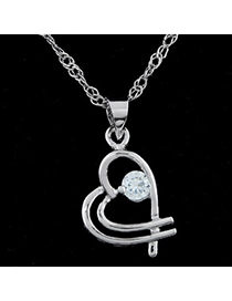 Carters silver color diamond decorated heart shape pendant design alloy Bib Necklaces