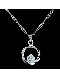 Couture silver color diamond decorated round shape pendant design alloy Bib Necklaces