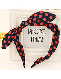 Glossy navy blue & watermelon red bowknot decorated dot design fabric Hair band hair hoop