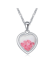 Screw Plum Red Diamond Decorated Heart Pendant Design Alloy Crystal Necklaces