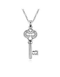 Fashion White Diamond Decorated Key Pendant Design Alloy Crystal Necklaces